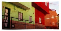 Beach Towel featuring the photograph Alcala Red And Green Street by Anne Kotan