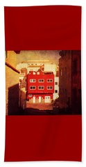 Beach Towel featuring the photograph Alcala Red House No1 by Anne Kotan