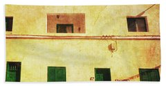Beach Towel featuring the photograph Alcala Yellow House With Green Doors by Anne Kotan