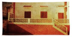 Beach Towel featuring the photograph Alcala Yellow Red House by Anne Kotan