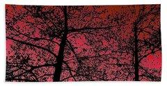 Alder Trees Against The Winter Sunrise Beach Sheet