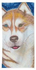 Beach Towel featuring the drawing Alek The Siberian Husky by Ania M Milo