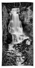 Beach Towel featuring the photograph Alexander Falls - Bw 2 by Stephen Stookey
