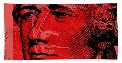Beach Towel featuring the digital art Alexander Hamilton - $10 Bill by Jean luc Comperat