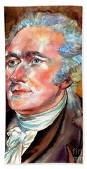 Alexander Hamilton Watercolor Beach Towel