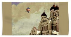 Beach Sheet featuring the digital art Alexander Nevsky Cathedral In Tallin, Estonia, My Memory. by Jeff Burgess