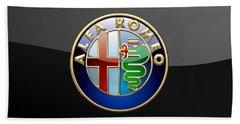 Alfa Romeo - 3 D Badge On Black Beach Towel