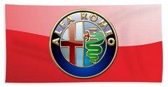 Alfa Romeo - 3d Badge On Red Beach Towel