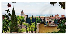 Alhambra Gardens, Digital Paint Beach Towel
