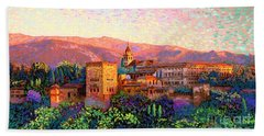 Beach Sheet featuring the painting Alhambra, Grenada, Spain by Jane Small