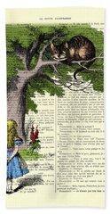 Alice In Wonderland And Cheshire Cat Beach Towel