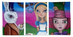 Alice In Wonderland Inspired Triptych Beach Towel