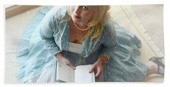 Alice In Wonderland Reads Her Story Beach Towel