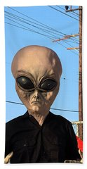 Alien Face At 6th Street Bridge Beach Towel by Viktor Savchenko