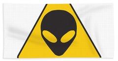 Alien Grey Graphic Beach Towel by Pixel Chimp