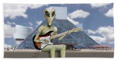 Alien Guitarist 2 Beach Towel