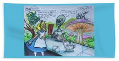 Beach Towel featuring the painting Alien In Wonderland by Similar Alien