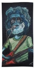 Beach Sheet featuring the painting Alien Jerry Garcia by Similar Alien