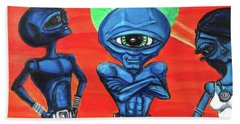 Beach Sheet featuring the painting Alien Posse by Similar Alien