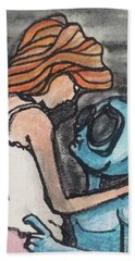 Beach Sheet featuring the painting Alien Seduction by Similar Alien