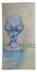 Beach Towel featuring the drawing Alien Submerged by Similar Alien