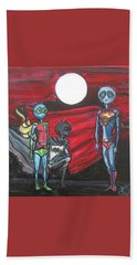Beach Towel featuring the painting Alien Superheros by Similar Alien