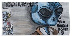Alien Taxi Driver Beach Sheet