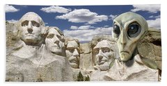 Alien Vacation - Mount Rushmore 2 Beach Towel by Mike McGlothlen