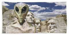 Alien Vacation - Mount Rushmore Beach Towel by Mike McGlothlen