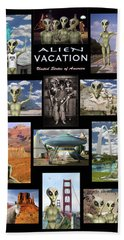 Alien Vacation - Poster Beach Towel by Mike McGlothlen