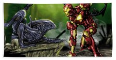 Alien Vs Iron Man Beach Sheet
