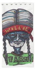 Beach Towel featuring the drawing alien Willie Nelson by Similar Alien