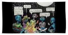 Beach Sheet featuring the painting Aliens By The Campfire by Similar Alien