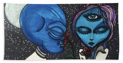 Beach Towel featuring the drawing Aliens Love Flowers by Similar Alien