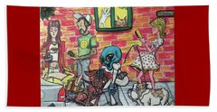 Beach Towel featuring the painting Aliens Love Dogs by Similar Alien