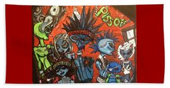 Beach Towel featuring the painting Aliens With Nefarious Intent by Similar Alien