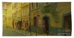 All Downhill From Here - Prague Street Scene Beach Towel