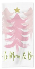 All Is Merry And Bright- Art By Linda Woods Beach Towel