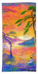 Buddha Meditation, All Things Bright And Beautiful Beach Sheet by Jane Small
