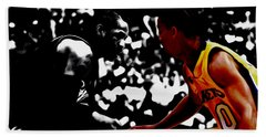 Beach Towel featuring the mixed media Allen Iverson And Tyronn Lue by Brian Reaves