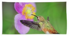Allens Hummingbird And Anemone Beach Towel
