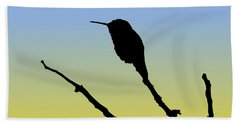 Allen's Hummingbird Silhouette At Sunrise Beach Towel