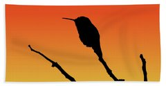 Allen's Hummingbird Silhouette At Sunset Beach Towel