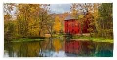 Alley Mill And Spring Beach Towel by Jennifer White