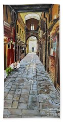 Beach Sheet featuring the painting Alley On Parangon In Venice by Jan Dappen