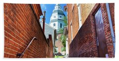 Alley View Of Maryland State House  Beach Towel