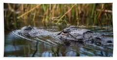 Alligator Closeup1-0600 Beach Towel