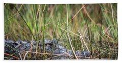 Alligator In Grass 0609 Beach Towel