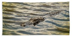 Alligator In Lake Alice Beach Sheet by Louis Ferreira