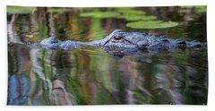Alligator Swims-1-0599 Beach Towel